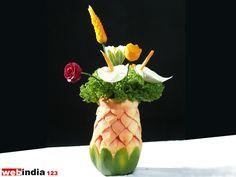 Details of Papaya Flowervase,Craft,how to make Papaya Flowervase,Viewer's Crafts Papaya Flower, Vegetable Decoration, Fruit And Vegetable Carving, Flower Vases, Flowers, Fruit Carvings, Fruits And Vegetables, Floral, Image