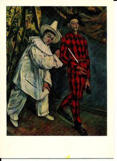 Pierrot and Harlequin -clowns - Vintage Postcard  Russian - Artist Paul Cezanne print by LucyMarket on Etsy