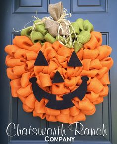 Jack O' Lantern Pumpkin Burlap Wreath Rustic Thanksgiving Fall Autumn Harvest Halloween Wreath Pumpkin Carving Jack O Lantern by ChatsworthRanchCo on Etsy https://www.etsy.com/listing/241927574/jack-o-lantern-pumpkin-burlap-wreath