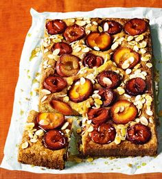 This sticky cake recipe is full of seasonal plums. It's a beautiful cake and perfect for a dinner party dessert.