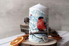 świeca decoupage boże narodzenie, zima, ptaki Pillar Candles, Decoupage, Candles