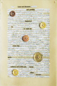 Mixed Media Found Text Poem on Book Page / por missouribendstudio