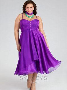 2016 sydney\'s closet Purple Chiffon Plus Size Prom Dress SC3038