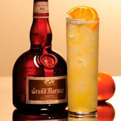 Grand Orange Collins With Grand Marnier, Orange Juice, Fresh Lemon Juice, Simple Syrup, Club Soda Grand Marnier, Gran Marnier Drinks, Liquor Drinks, Wine And Liquor, Fun Drinks, Yummy Drinks, Alcoholic Drinks, Beverages, Bourbon Drinks