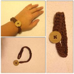 Crochet bracelet with button Braccialetto all'uncinetto con bottone di chiusura