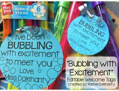 """""""Bubbling with Excitement"""" Welcome Back Gift Tags As a first year teacher, you can probably tell from a mile away that I am BUBBLING WITH EXCITEMENT to meet my class full of kinders in August! When I saw colorful bubbles on sale at the store, I knew that this would be the perfect back to school gift for my new students. I will give each of my students their own bubbles with this gift tag on Meet the Teacher night as part of a scavenger hunt around the classroom! (This will be the prize that…"""