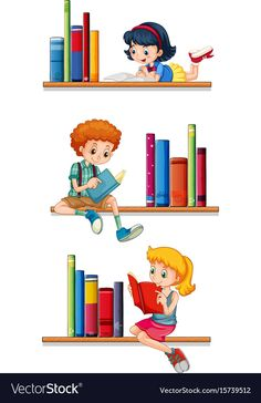 Children reading books on shelves Royalty Free Vector Image Classroom Decor Themes, School Decorations, Drawing For Kids, Art For Kids, Teacher Cartoon, Kids Reading Books, Funny Doodles, Kids Background, School Frame