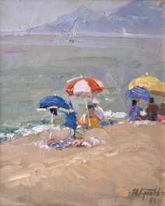 «Seaside umbrellas»; 33х24; oil on canvas; 1993. Yuri Krotov