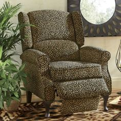 Leopard Wingback Recliner from Midnight Velvet.   So stylishly stunning, you almost won't believe it's comfortable too! Stately wingback elegance, a posh leopard print and soothing recliner function let you kick back after a long day on the prowl.