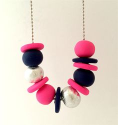 Navy, Hot Pink and Silver Polymer Clay Necklace