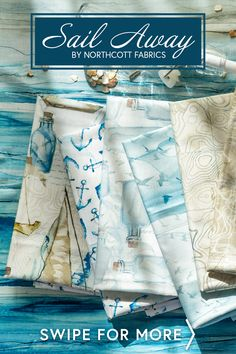 Sail Away is a stunning nautical themed collection by Melanie Samra and Deborah Edwards for Northcott Fabrics! This collection features gorgeous sailboats, ocean views, and a beautiful watercolor look! Sail Away, Ocean Views, Sailboats, Nautical Theme, Sailing, Fabrics, Watercolor, Beautiful, Collection