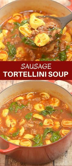 Sausage Tortellini Soup chockful of spicy Italian sausage, cheese tortellini, and baby spinach is hearty, delicious, and the perfect meal for chilly weather. Quick and easy to make and cooks in one pot!