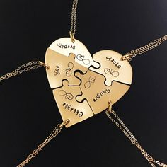 Sawed and engraved by hand, these 5 piece 14 karat Gold Filled heart puzzle necklace sets are perfect for groups of friends or family. Have them engraved with a quote or individually with names. These are highly rated top sellers in my store and people love them for weddings, farewells, and friendship gifts #heartpuzzlenecklaces #puzzlenecklaces #friendshipnecklaces #friendshipjewelry #farewellgift #graduationgift #weddinggift #friendnecklaces #friendshipjewelry #blendedfamily Friendship Christmas Gifts, Friendship Gifts, Bff Necklaces, Best Friend Necklaces, Best Friend Gifts, Gifts For Friends, Group Names Ideas, Gifts For Hubby, Farewell Gifts