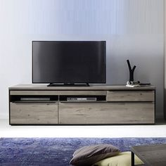 Furniture In Fashion Seattle Large TV Stand In Oak And Stone Grey With Metal Accents Large Tv Stands, Wooden Tv Stands, Accent Furniture, Living Room Furniture, Contemporary Leather Sofa, Black Tv, Metal Accents, Grey Oak, Grey Stone