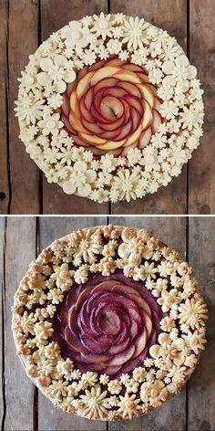 Beautiful Pie Crusts, Pie Crust Designs, Pie Decoration, Pies Art, Delicious Desserts, Yummy Food, Pretty Cakes, Creative Cakes, No Bake Cake