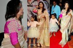 Srinu Vaitla Wife in Fancy Saree   Saree Blouse Patterns