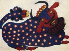 Blue Ox - Maria Primachenko, 1947, Wikipaintings