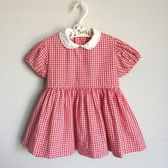 Vintage 1950s Baby Girl Dress / 50s 60s Red White Gingham Plaid - 12 Months