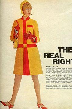 60s mod colour-block coat & matching accessories