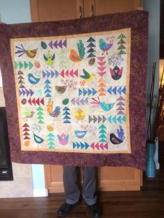Fancy Feathers block exchange quilt, 2014