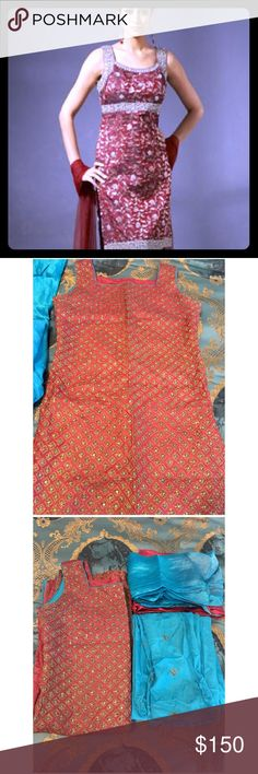 indian/pakistani dress Celebrity inspired Saree Maroon silk Indian dress. Gold embroidery with turquoise sequences throughout. Matching free size pants with embroidery. Comes with crepe silk shawl. Bollywood ethnic wear (pic 1 for reference) Fit size 2-4 Dresses