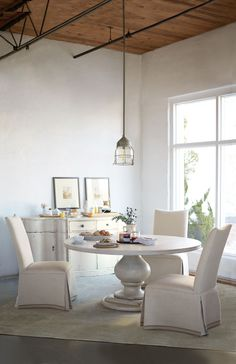 Round Dining Table and Skirted Chairs from Bernhardt, available at Giorgi Bros. Dining Table Top, Dining Room Design, Casual Dining Rooms, Dining Room Furniture, Furniture, Dining Room Inspiration, Bernhardt Furniture, Round Dining Table, Dining