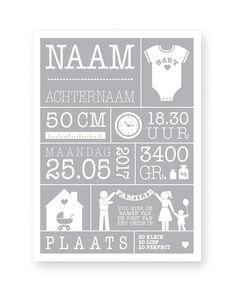 Zelf een baby geboorteposter maken: Met gewicht, lengte, naam en geboorteplaats Van printcandy. Art-prints en posters in 3 simpele stappen online customizen