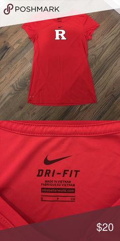 Nike Dri-Fit Rutgers athletic shirt Rutgers athletic shirt made with Dri-Fit material. Feminine cut, so sleeves are short and short comes in at the waist a bit so it fits nice and snug! Nike Tops Tees - Short Sleeve