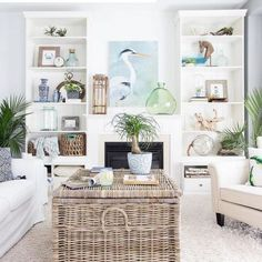 Beach cottage home living room decor idea in white with wicker trunk coffee table.... #beachdecor #livingroomideas