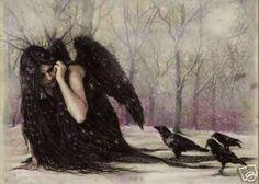Victoria Frances Ravens Mint Sexy Goth Poster Art Print x inches Dark Angels, Angels And Demons, Fallen Angels, France Wallpaper, France Art, Poster Art, Ange Demon, Luis Royo, Celtic Mythology