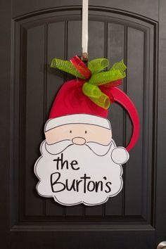 Santa Door Hanger. Christmas Door Hanger. by AllAboutMeatloaf