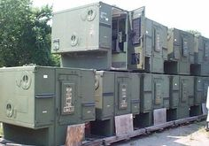 Military Telco Shelters -- What a great slide in for a full sized truck when you go on Ham related weekends! Or maybe you could fix it on a small utility trailer and pull it with your car. Either way, it would have all sorts of electrical connections and fixtures already installed.