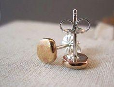 14k Rose Gold and Sterling Stud Earrings by SpiritJoyDesigns, $80.00