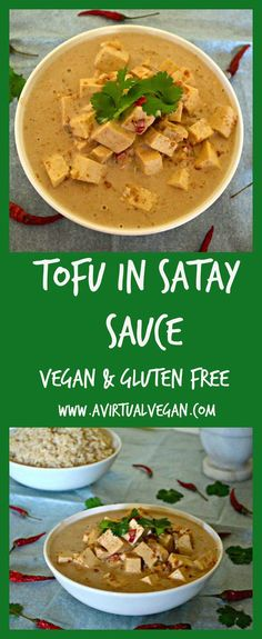 Tender tofu in a rich, smooth and creamy satay sauce. This Tofu In Satay Sauce is super easy to prepare & tastes totally delicious! Tofu Recipes, Asian Recipes, Vegetarian Recipes, Cooking Recipes, Healthy Recipes, Vegan Recepies, Healthy Foods, Yummy Recipes, Vegan Foods