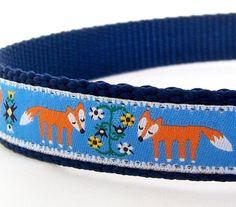 Fox Dog Collar Woodland Friends on Blue / Fox by daydogdesigns