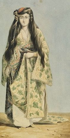 An Armenian woman from Istanbul, mid-19th century.  Watercolour, by the American painter William Page (1811-1885).