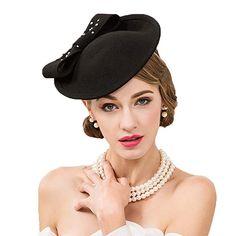b120609b381d0 Dovaly Womens Fascinator Wool Felt Pillbox Vintage Black Elegant Derby Wedding  Hats