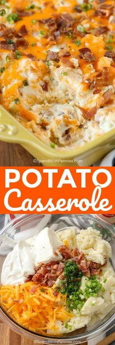 easy twice baked potato casserole is loaded with all of our favorite potato flavors! Fluffy mashed potatoes, bacon, cheddar onions and sour cream! Easy Twice Baked Potatoes, Loaded Baked Potato Casserole, Potatoe Casserole Recipes, Casserole Dishes, Mashed Potatoes, Potato Recipes, Side Dish Recipes, Veggie Recipes, Cooking Recipes