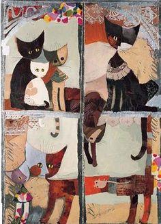 Rosina-Wachtmeister-Finestra-dei-Gatti-Katzen-Fertig-Bild-60x80-Wandbild