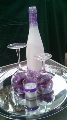 Wine bottle centerpiece - would want in burgundy or silver or green