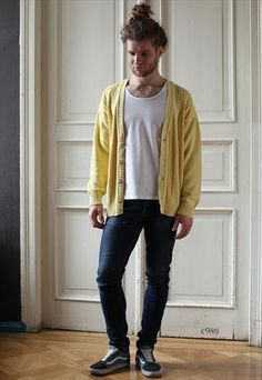 I mean...this guy has a ponytail-bun, but that's a sweet cardigan.  Vintage Mens Cardigan in Yelllow