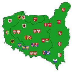 Voivodeships Coats of Arms of Second and Third Polish Republic by Samogost Vikings, Poland Map, Learn Polish, Alternate History, Fantasy Map, Historical Maps, Patriots, Projects To Try, Learning