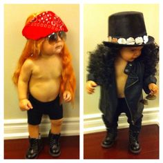 Guns n roses Halloween costume for twin boys. Axl Rose and Slash! Homemade is always best ;)