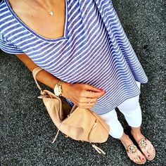 IG @mrscasual <click through to shop this look> striped blue and white tee. White cropped skinny jeans. Tory burch miller sandals. Tan bag. Kendra Scott.