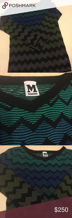 Missoni Sweater Black, blue and green Missoni patterned knit sweater with V neck, long sleeves and rib knit trim--lightweight, year-round wear. Moderate fit. Italian size 44. Pristine condition. Missoni Sweaters