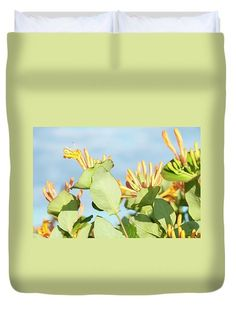 Flowering Honeysuckle by Yarinka Morozova  Yellow flowering honeysuckle against the blue summer sky https://fineartamerica.com/featured/flowering-honeysuckle-yarinka-morozova.html?newartwork=true #YarinkaMorozovaFeineArtPhotography #ArtForHome #FieneArtPrints #Honeysuckle #blue #sky #summer #flowers#Duvet Cover#y#ArtForHome#