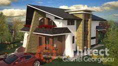 Casa cu etaj 54 | Proiecte de case personalizate | Arhitect Gabriel Georgescu & Echipa Modern House Facades, Modern House Design, Facade House, Design Case, House 2, Simple House, Home Fashion, My Dream Home, Vise