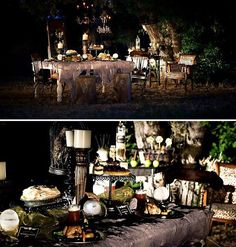 outdoor gothic dinner party halloween-general - Real Time - Diet, Exercise, Fitness, Finance You for Healthy articles ideas Halloween Chique, Table Halloween, Harry Potter Halloween Party, Adult Halloween Party, Halloween Dinner, Halloween Party Decor, Holidays Halloween, Halloween Signs, Pretty Halloween