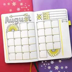 Its been a popular theme during summer! So we have forund 43 sunny stunning sunflower bullet journal layout ideas and spreads to show you and Bullet Journal Easy, Bullet Journal Monthly Calendar, Bullet Journal August, Bullet Journal Notebook, Bullet Journal School, Bullet Journal Ideas Pages, Bullet Journal Inspiration, Book Journal, Bullet Journal Boxes