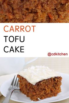 Made with raisins, cinnamon, vanilla extract, carrots, soft or silken tofu, applesauce, wheat flour, brown sugar, baking soda, salt | CDKitchen.com